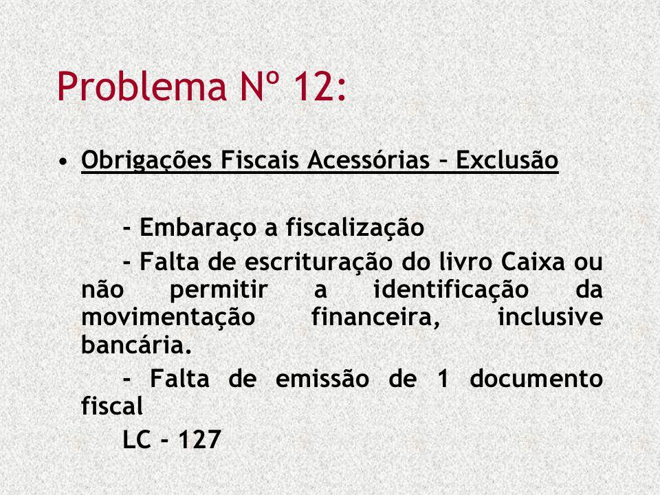 Problema Nº 12: Obrigações Fiscais Acessórias – Exclusão