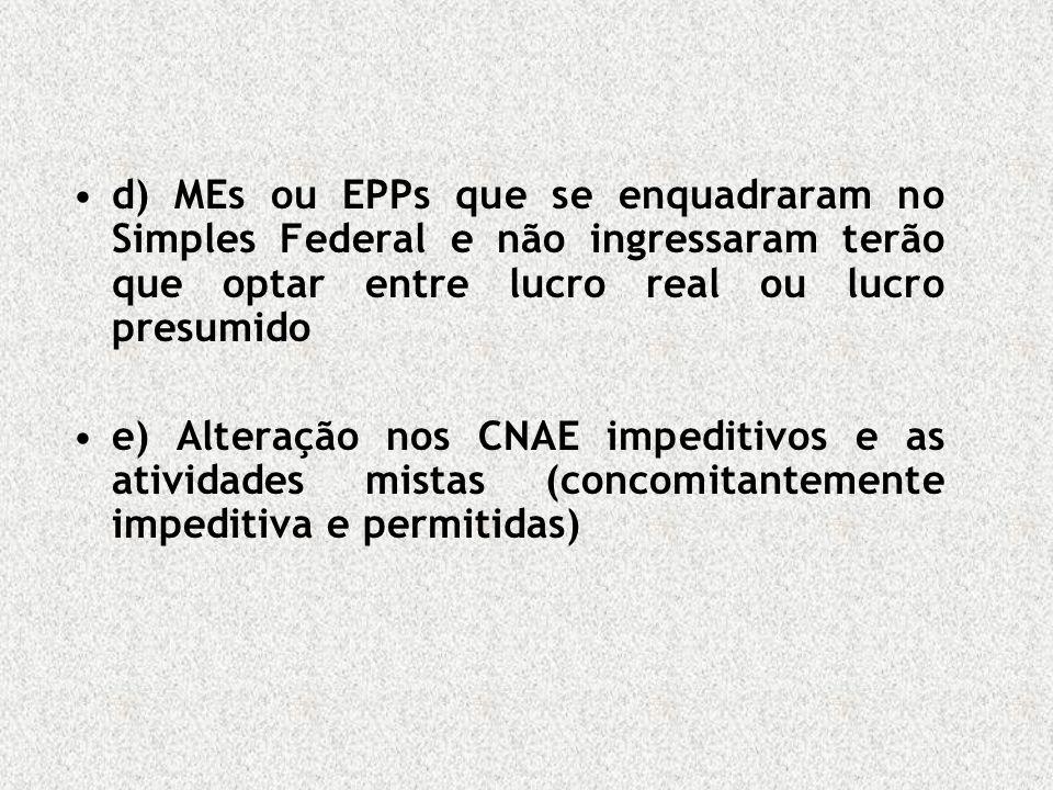 d) MEs ou EPPs que se enquadraram no Simples Federal e não ingressaram terão que optar entre lucro real ou lucro presumido