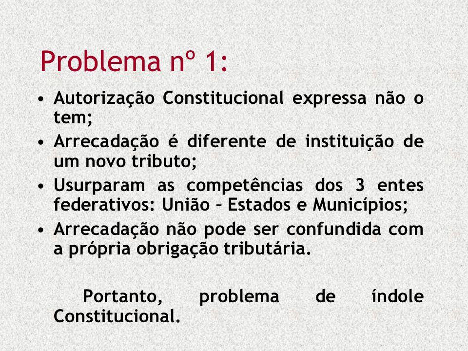 Problema nº 1: Autorização Constitucional expressa não o tem;