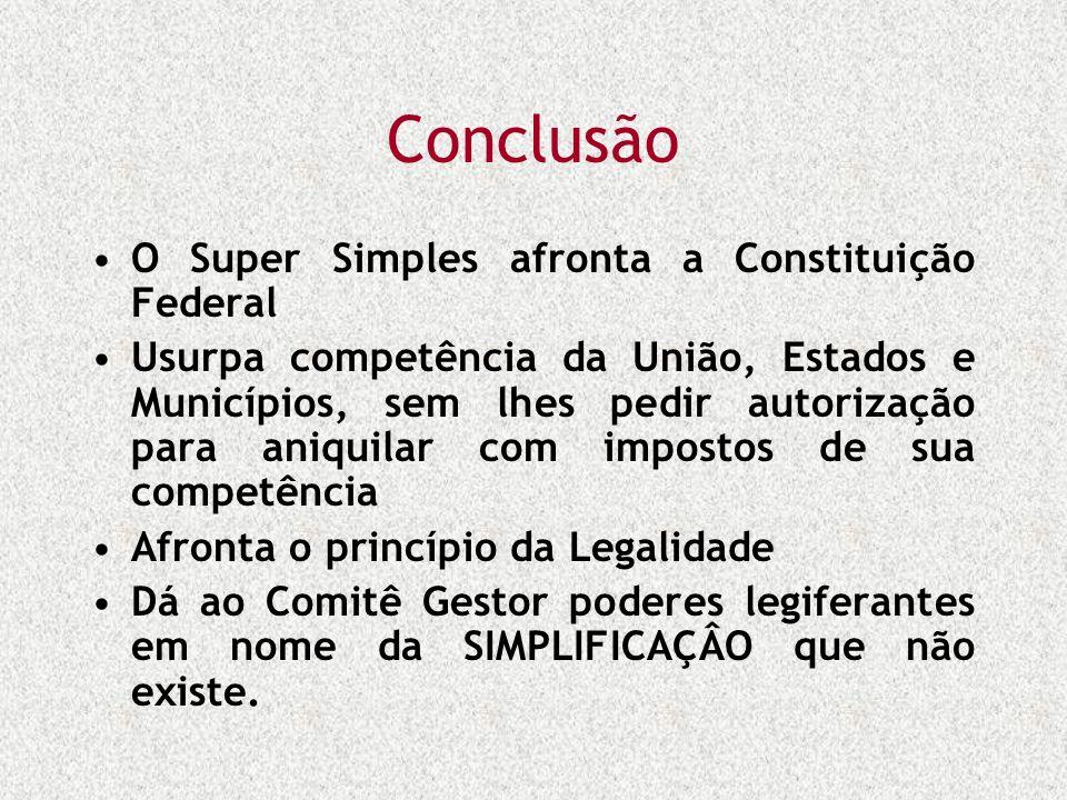 Conclusão O Super Simples afronta a Constituição Federal