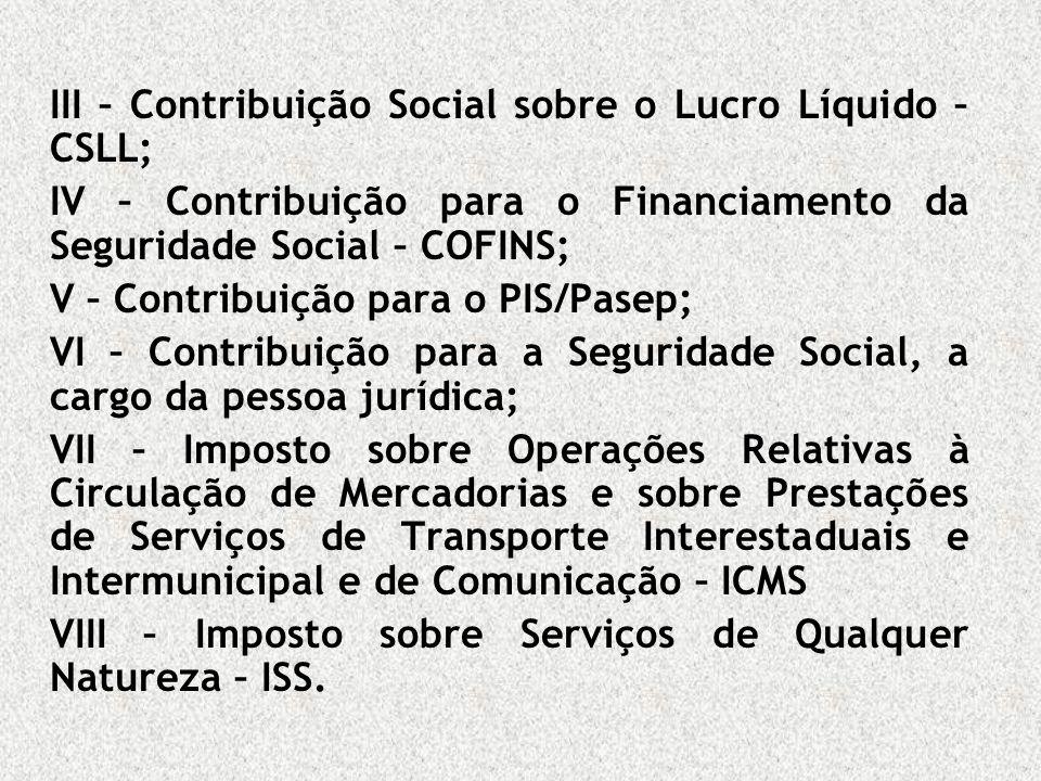 III – Contribuição Social sobre o Lucro Líquido – CSLL;