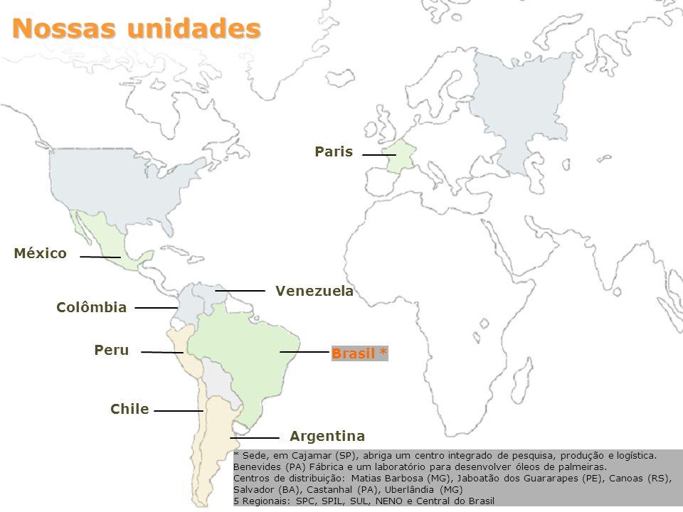 Nossas unidades Paris México Venezuela Colômbia Peru Brasil * Chile