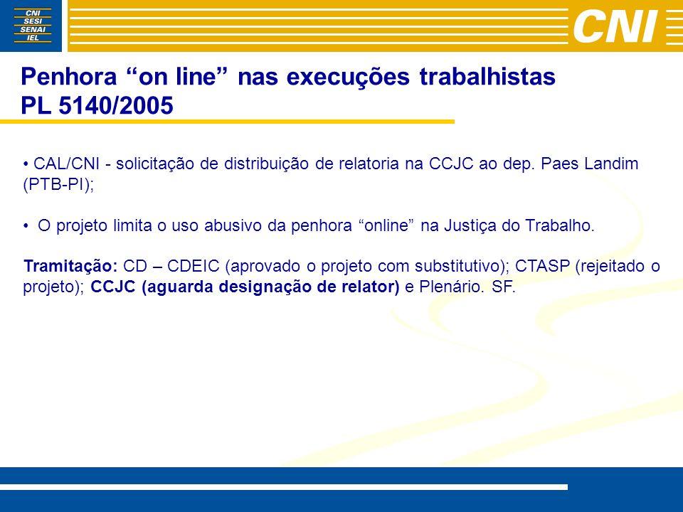 Penhora on line nas execuções trabalhistas PL 5140/2005