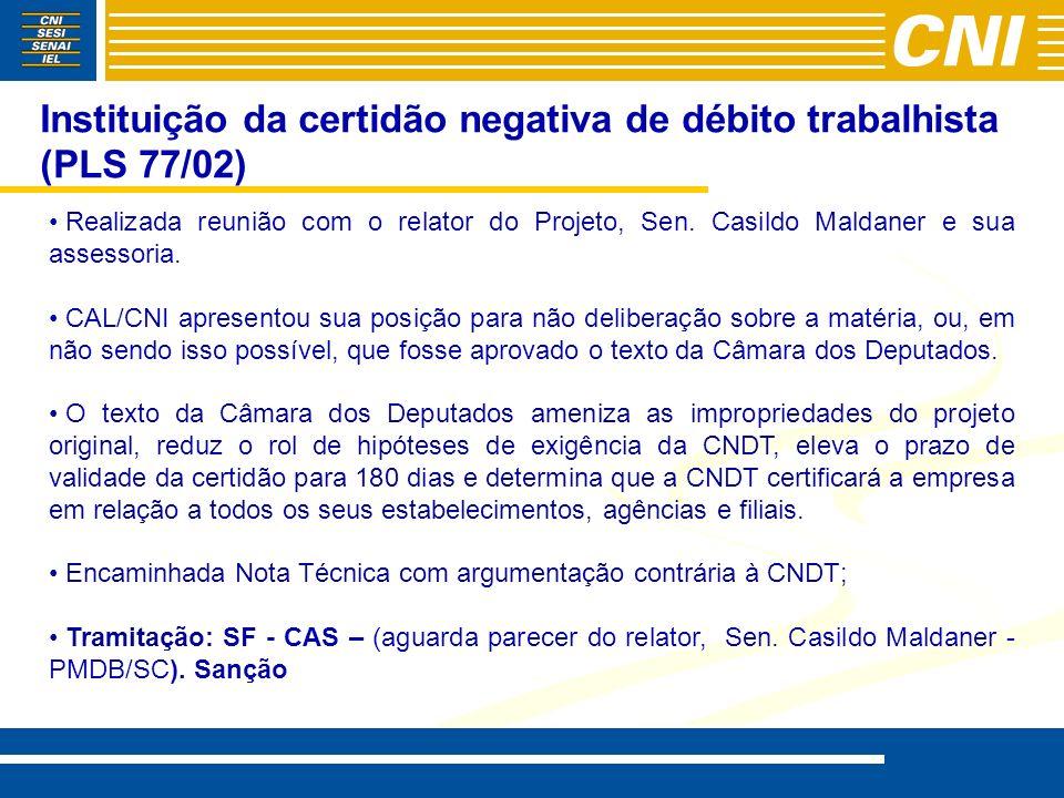Instituição da certidão negativa de débito trabalhista (PLS 77/02)