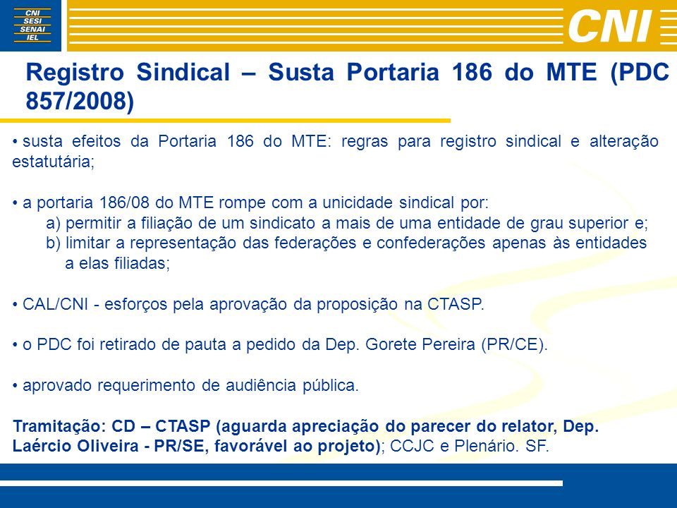 Registro Sindical – Susta Portaria 186 do MTE (PDC 857/2008)