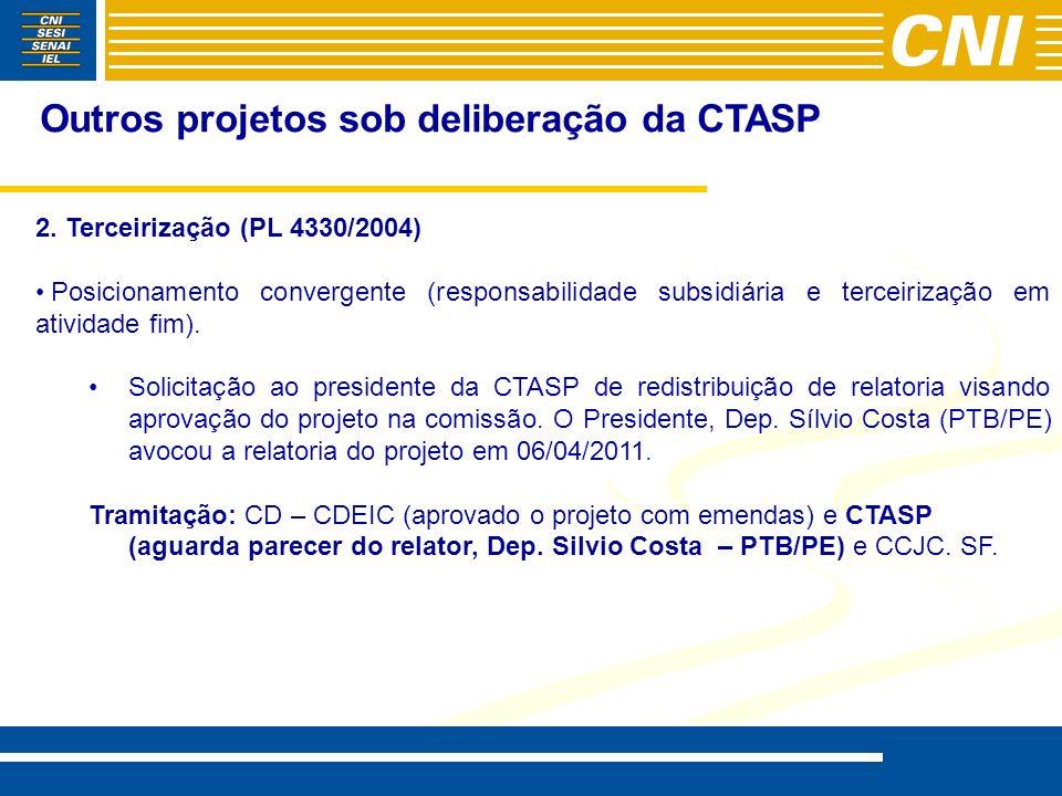 Outros projetos sob deliberação da CTASP