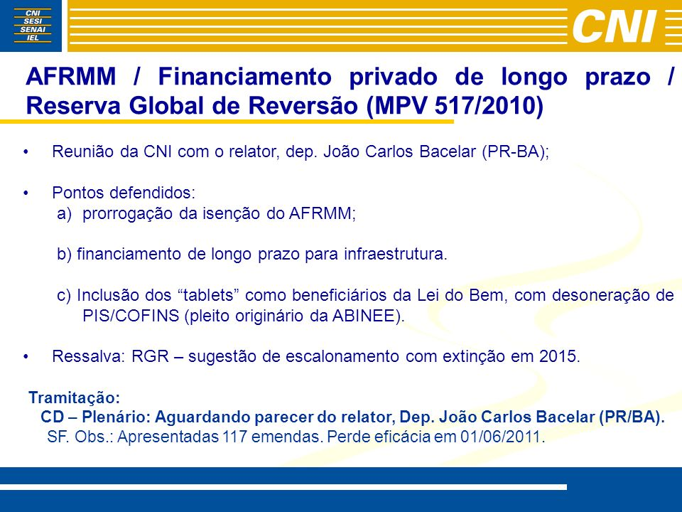 AFRMM / Financiamento privado de longo prazo / Reserva Global de Reversão (MPV 517/2010)