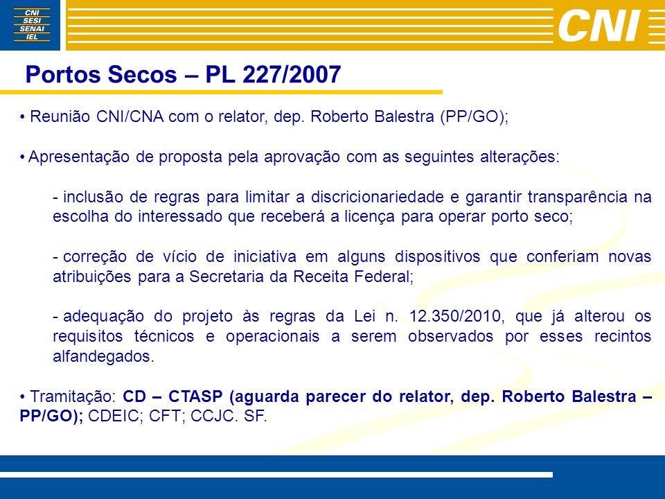 Portos Secos – PL 227/2007 Reunião CNI/CNA com o relator, dep. Roberto Balestra (PP/GO);