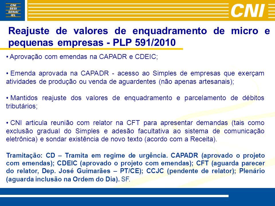 Reajuste de valores de enquadramento de micro e pequenas empresas - PLP 591/2010