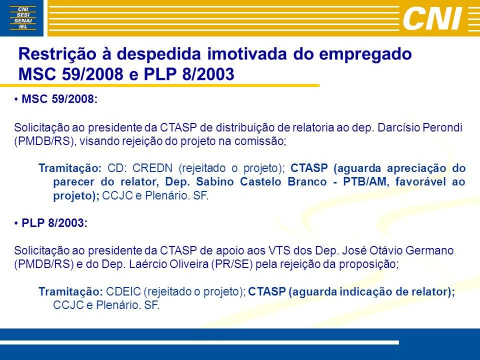 Restrição à despedida imotivada do empregado MSC 59/2008 e PLP 8/2003