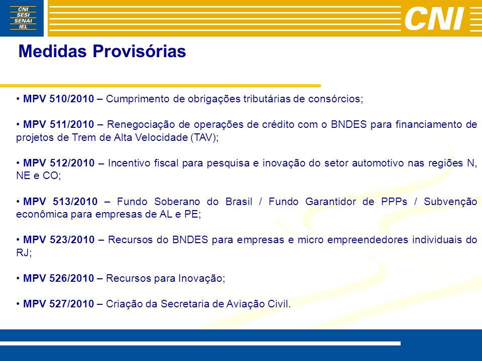 Medidas Provisórias MPV 510/2010 – Cumprimento de obrigações tributárias de consórcios;