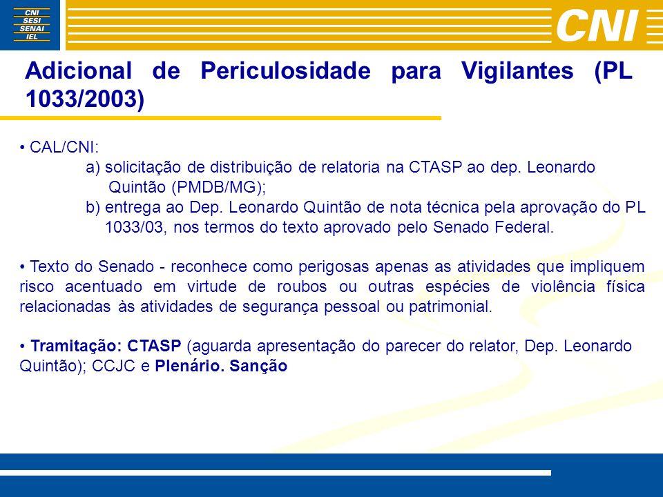 Adicional de Periculosidade para Vigilantes (PL 1033/2003)
