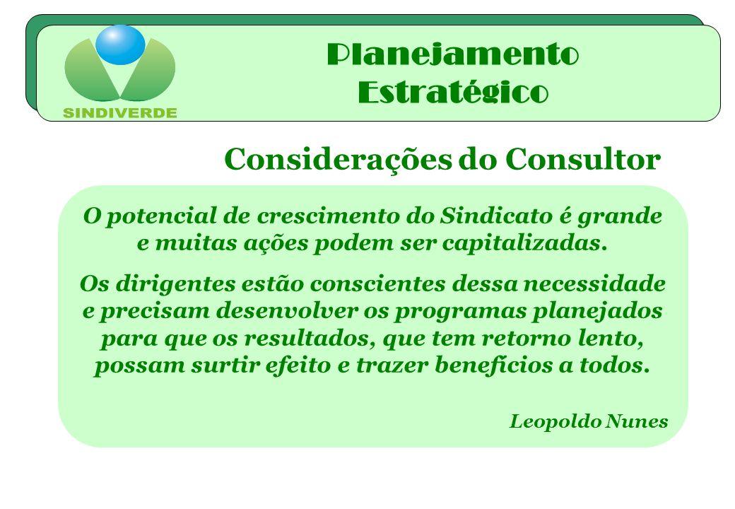 Planejamento Estratégico Considerações do Consultor
