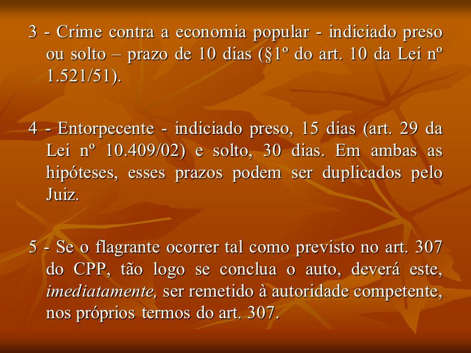 3 - Crime contra a economia popular - indiciado preso ou solto – prazo de 10 dias (§1º do art. 10 da Lei nº 1.521/51).