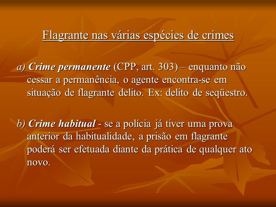 Flagrante nas várias espécies de crimes
