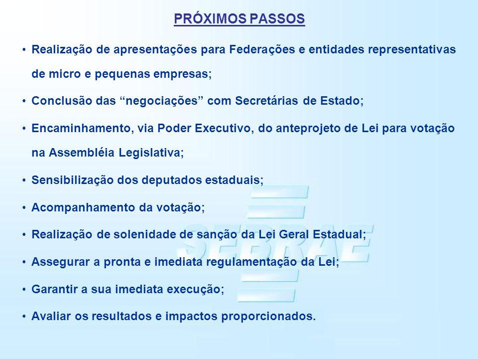 PRÓXIMOS PASSOS Realização de apresentações para Federações e entidades representativas de micro e pequenas empresas;