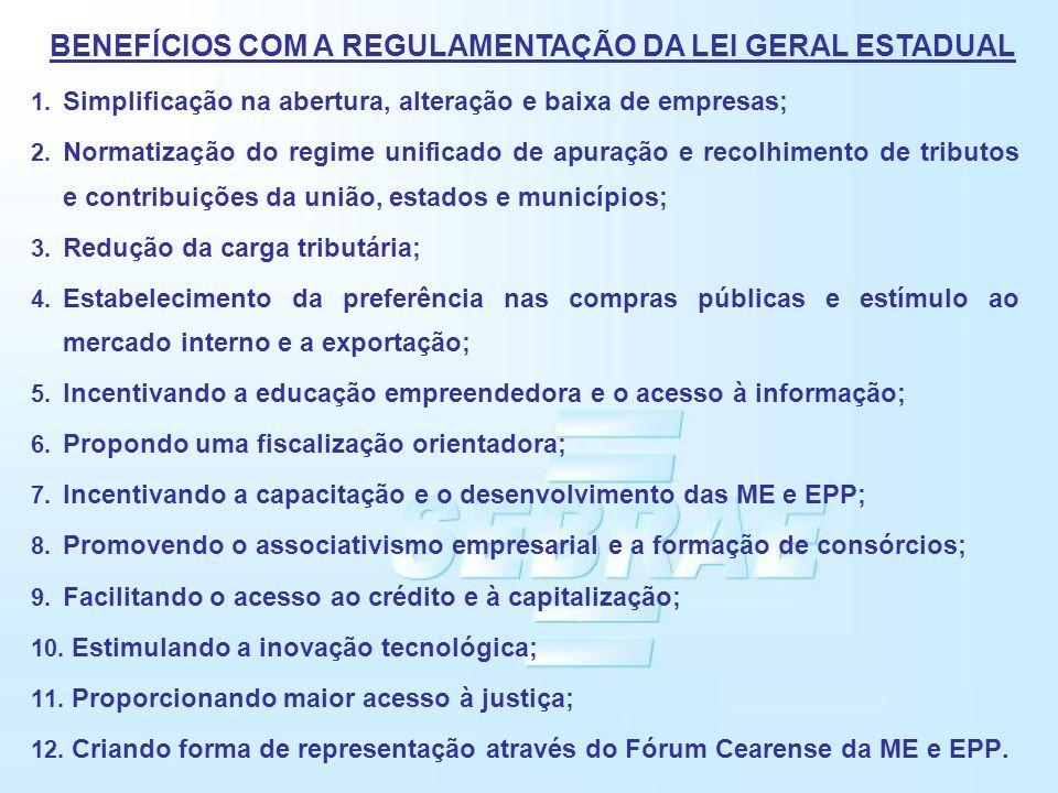 BENEFÍCIOS COM A REGULAMENTAÇÃO DA LEI GERAL ESTADUAL