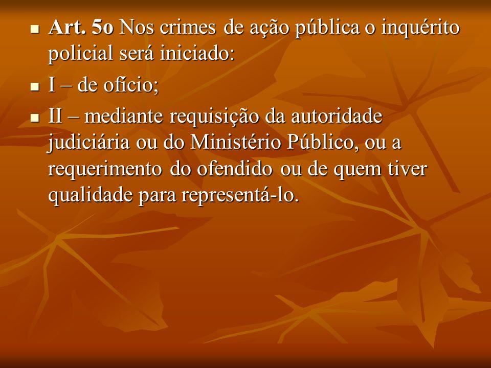Art. 5o Nos crimes de ação pública o inquérito policial será iniciado: