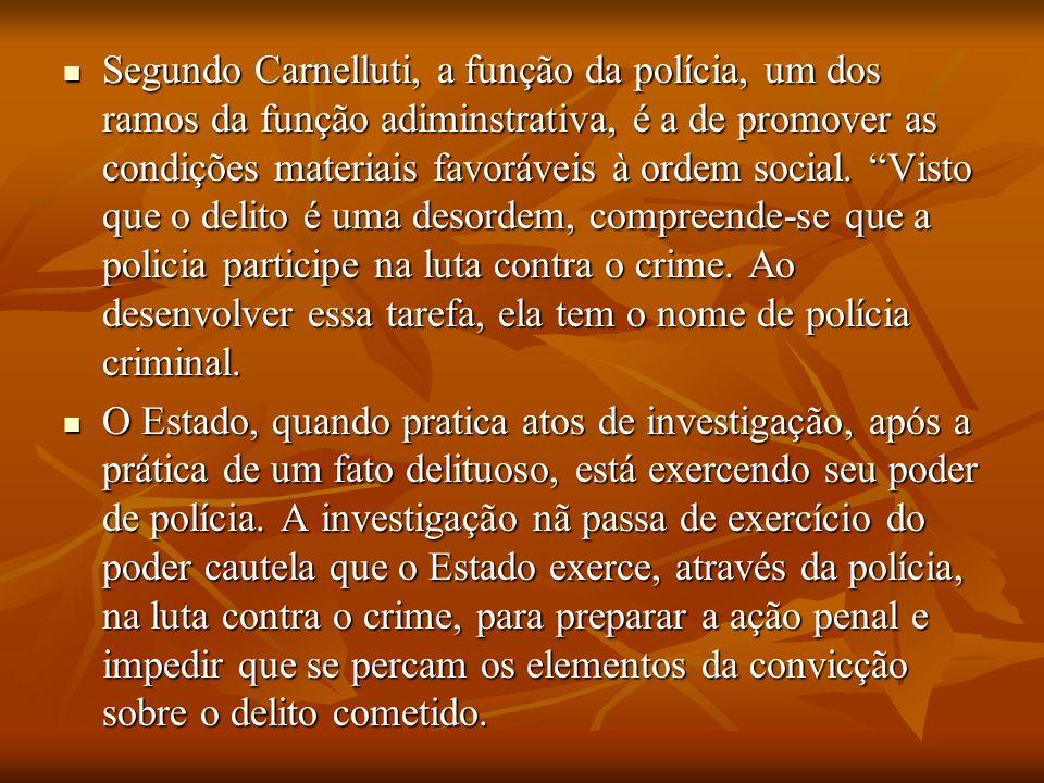 Segundo Carnelluti, a função da polícia, um dos ramos da função adiminstrativa, é a de promover as condições materiais favoráveis à ordem social. Visto que o delito é uma desordem, compreende-se que a policia participe na luta contra o crime. Ao desenvolver essa tarefa, ela tem o nome de polícia criminal.