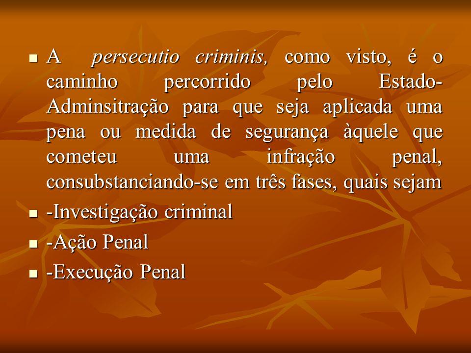 A persecutio criminis, como visto, é o caminho percorrido pelo Estado-Adminsitração para que seja aplicada uma pena ou medida de segurança àquele que cometeu uma infração penal, consubstanciando-se em três fases, quais sejam