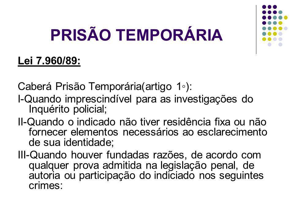 PRISÃO TEMPORÁRIA Lei 7.960/89: Caberá Prisão Temporária(artigo 1◦):
