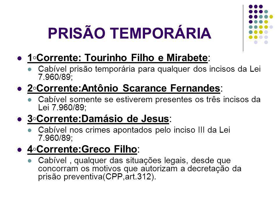 PRISÃO TEMPORÁRIA 1◦Corrente: Tourinho Filho e Mirabete: