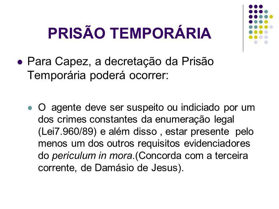 PRISÃO TEMPORÁRIA Para Capez, a decretação da Prisão Temporária poderá ocorrer: