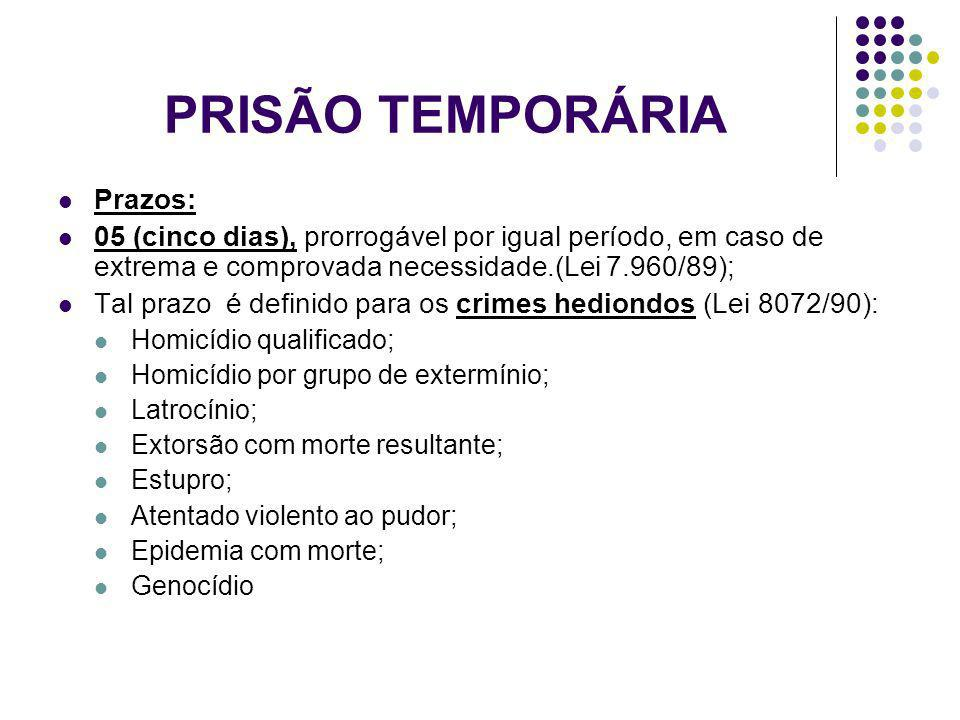 PRISÃO TEMPORÁRIA Prazos: