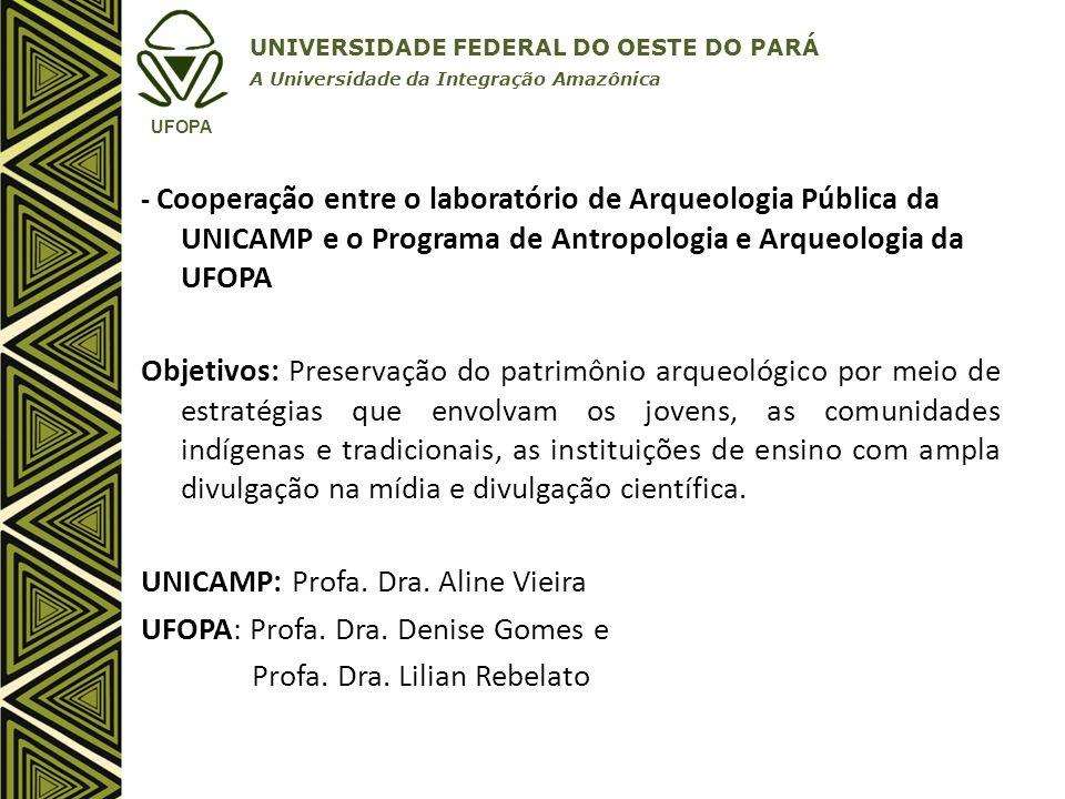 UNICAMP: Profa. Dra. Aline Vieira UFOPA: Profa. Dra. Denise Gomes e