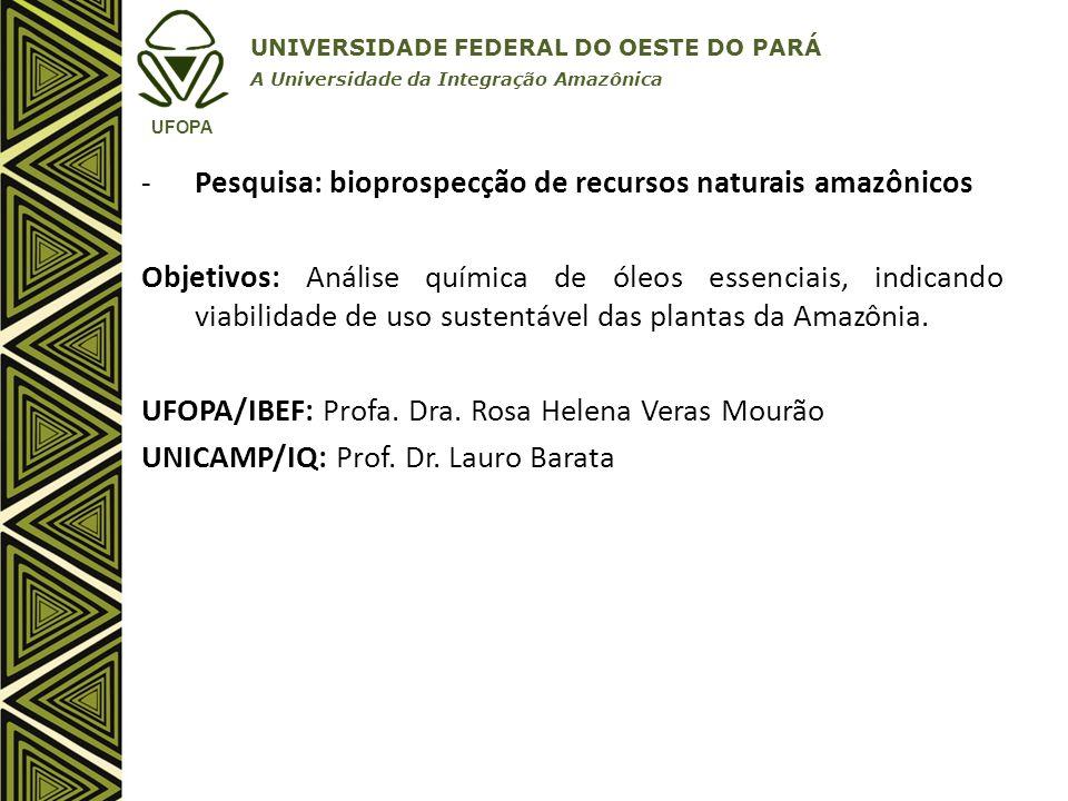Pesquisa: bioprospecção de recursos naturais amazônicos