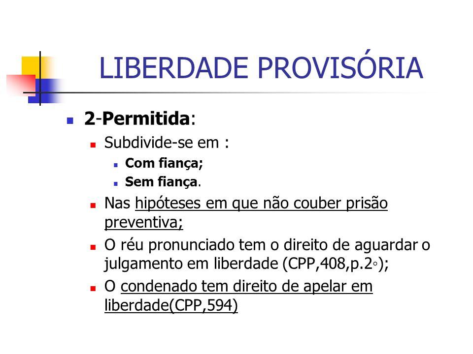 LIBERDADE PROVISÓRIA 2-Permitida: Subdivide-se em :