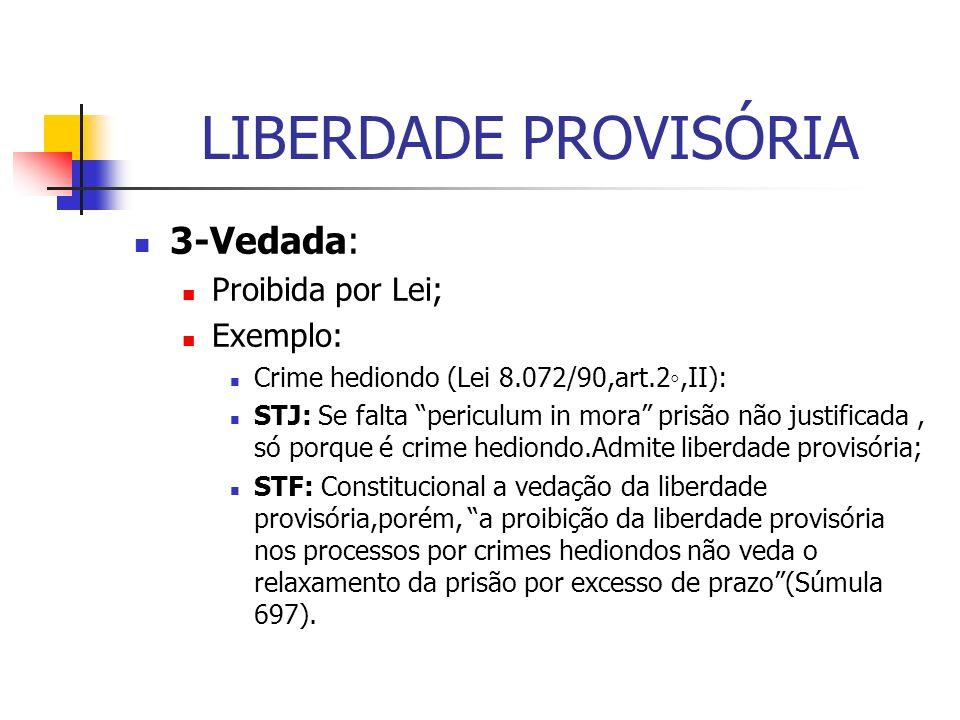 LIBERDADE PROVISÓRIA 3-Vedada: Proibida por Lei; Exemplo: