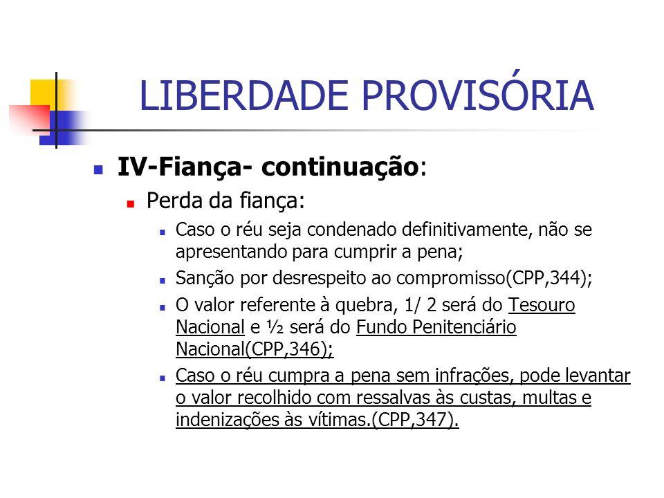 LIBERDADE PROVISÓRIA IV-Fiança- continuação: Perda da fiança:
