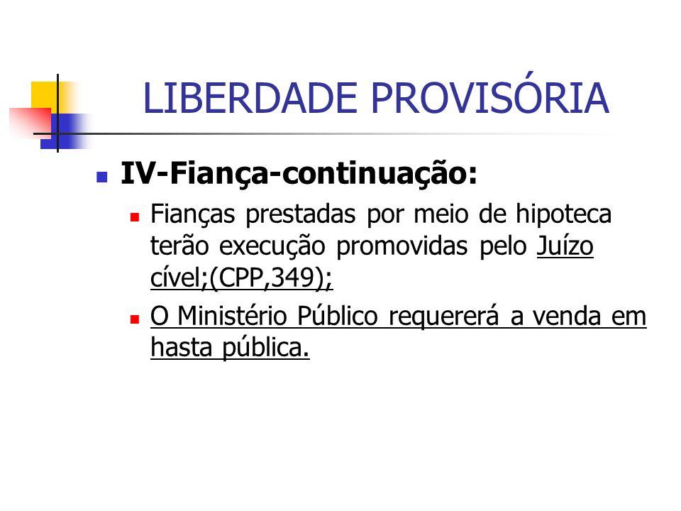 LIBERDADE PROVISÓRIA IV-Fiança-continuação: