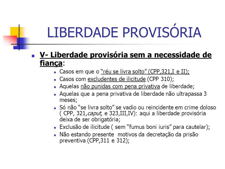 LIBERDADE PROVISÓRIA V- Liberdade provisória sem a necessidade de fiança: Casos em que o réu se livra solto (CPP,321,I e II);