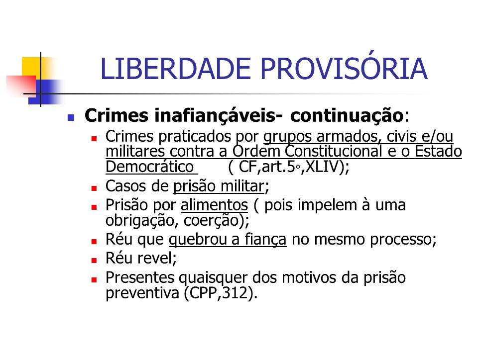 LIBERDADE PROVISÓRIA Crimes inafiançáveis- continuação: