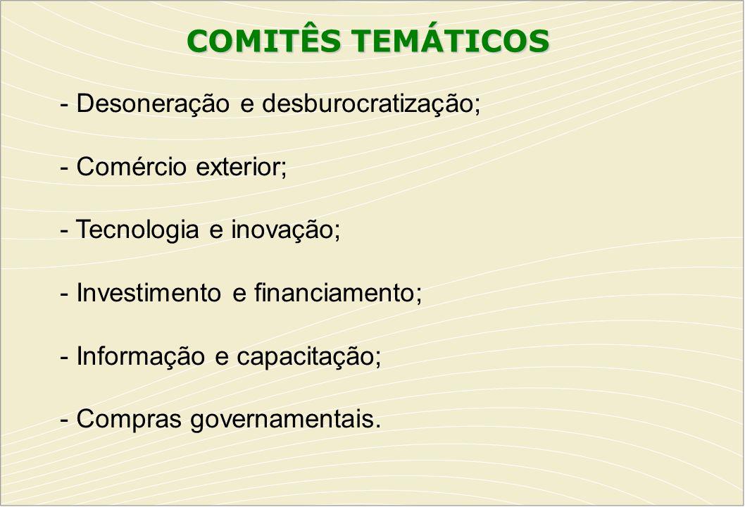 COMITÊS TEMÁTICOS - Desoneração e desburocratização;