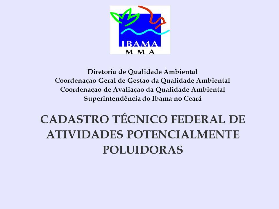 CADASTRO TÉCNICO FEDERAL DE ATIVIDADES POTENCIALMENTE POLUIDORAS