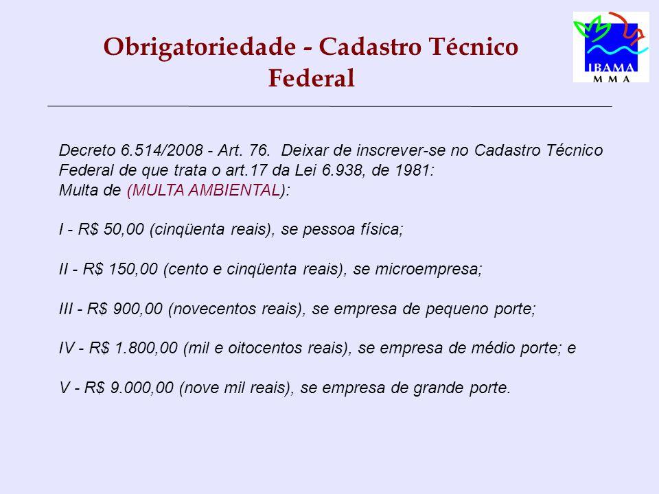 Obrigatoriedade - Cadastro Técnico Federal