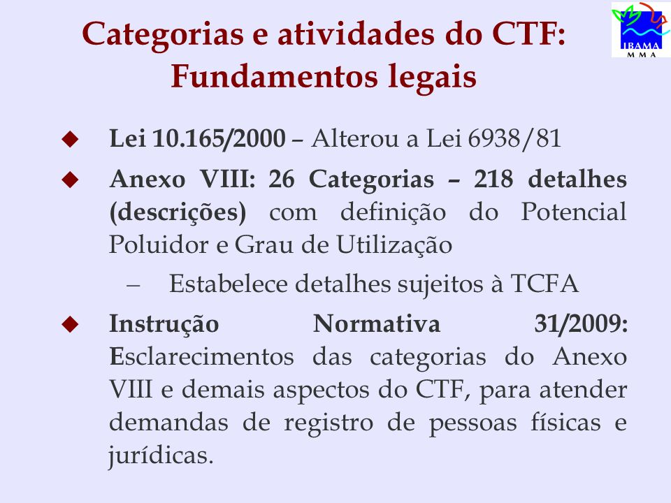 Categorias e atividades do CTF: Fundamentos legais