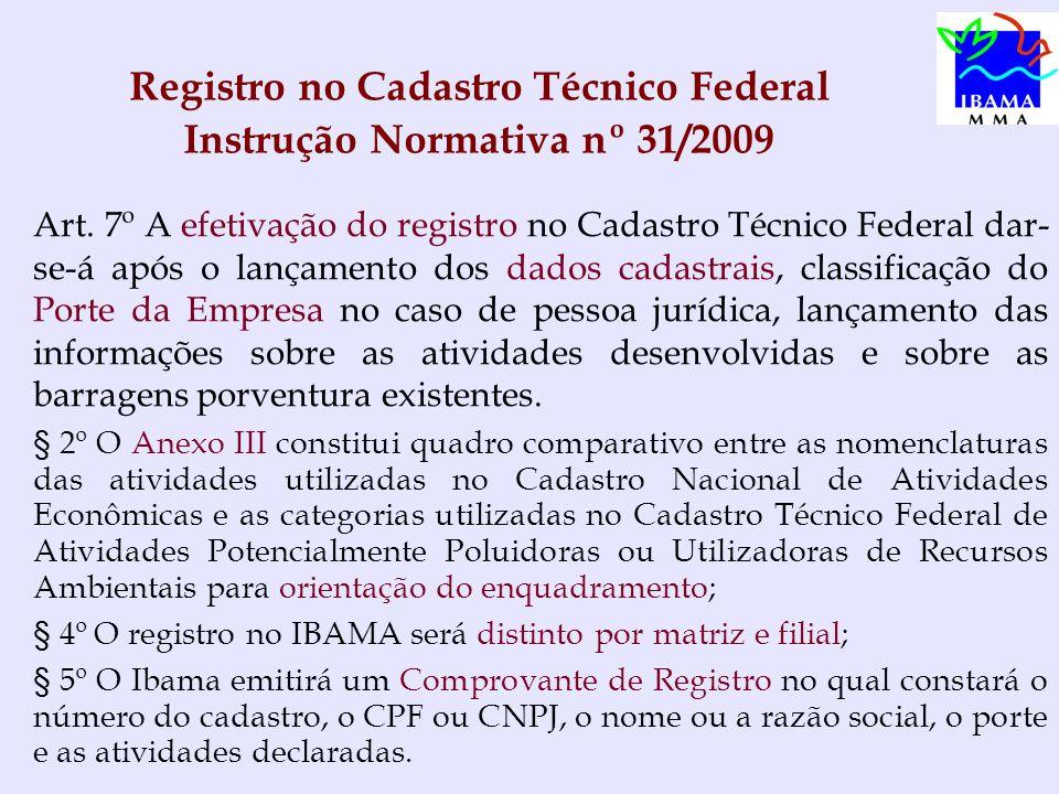Registro no Cadastro Técnico Federal Instrução Normativa nº 31/2009