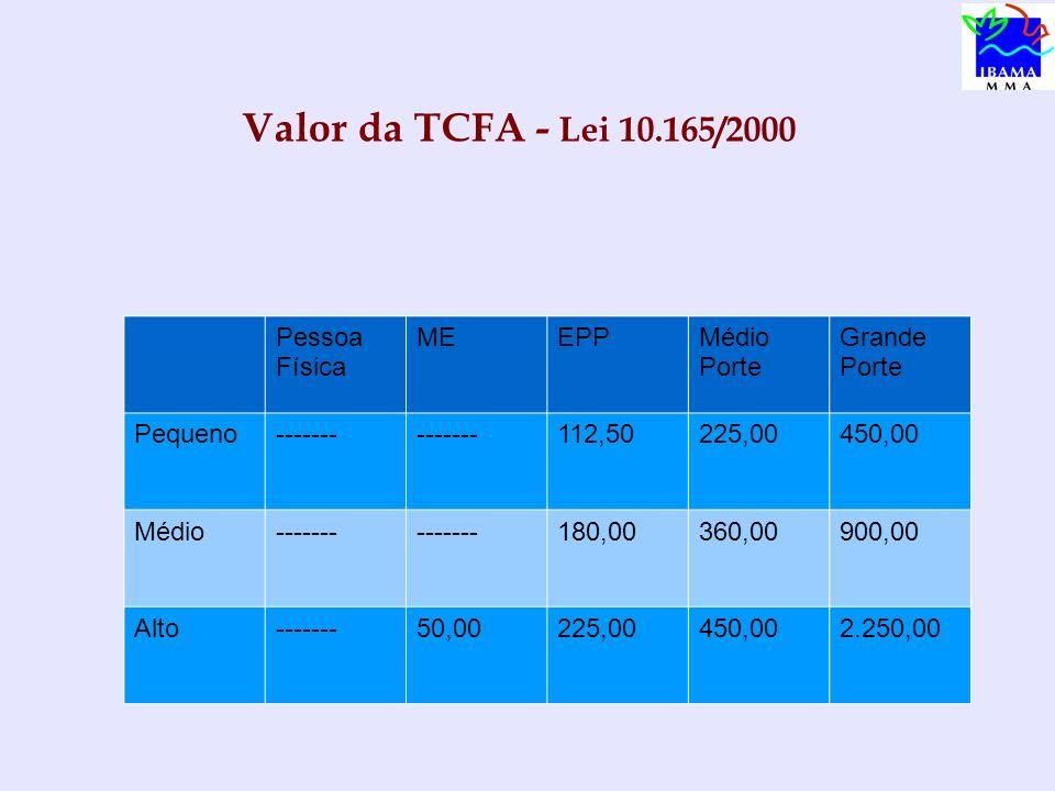 Valor da TCFA - Lei 10.165/2000 Pessoa Física ME EPP Médio Porte