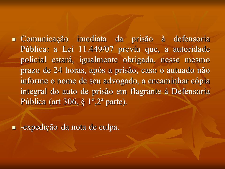Comunicação imediata da prisão à defensoria Pública: a Lei 11