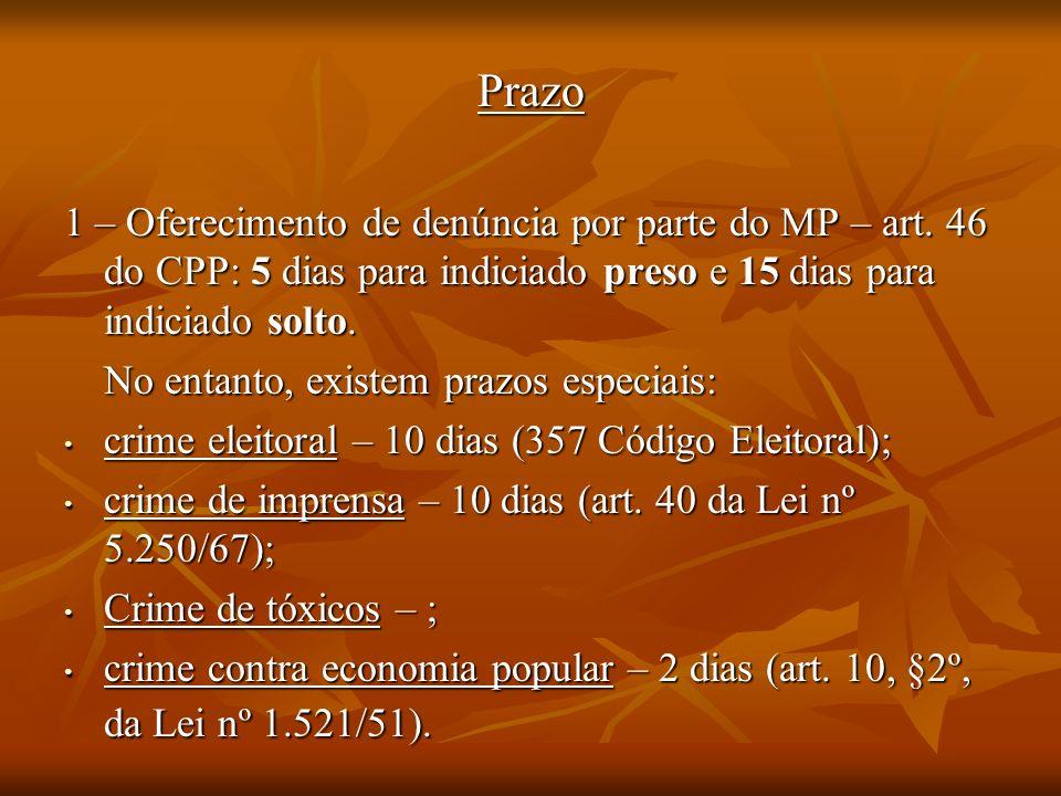 Prazo 1 – Oferecimento de denúncia por parte do MP – art. 46 do CPP: 5 dias para indiciado preso e 15 dias para indiciado solto.
