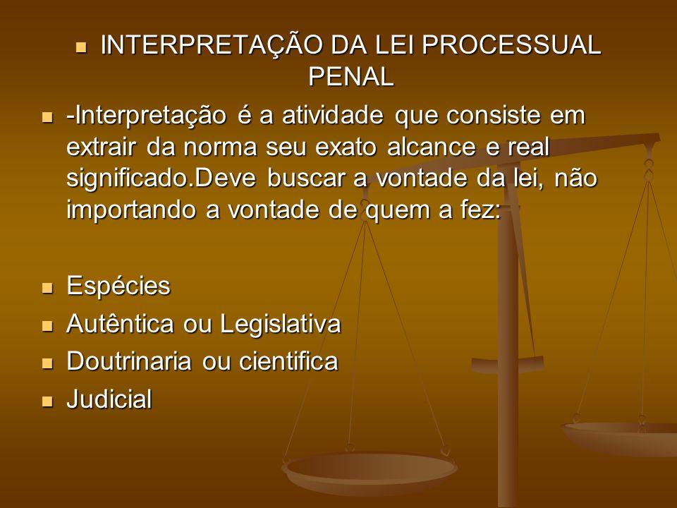 INTERPRETAÇÃO DA LEI PROCESSUAL PENAL