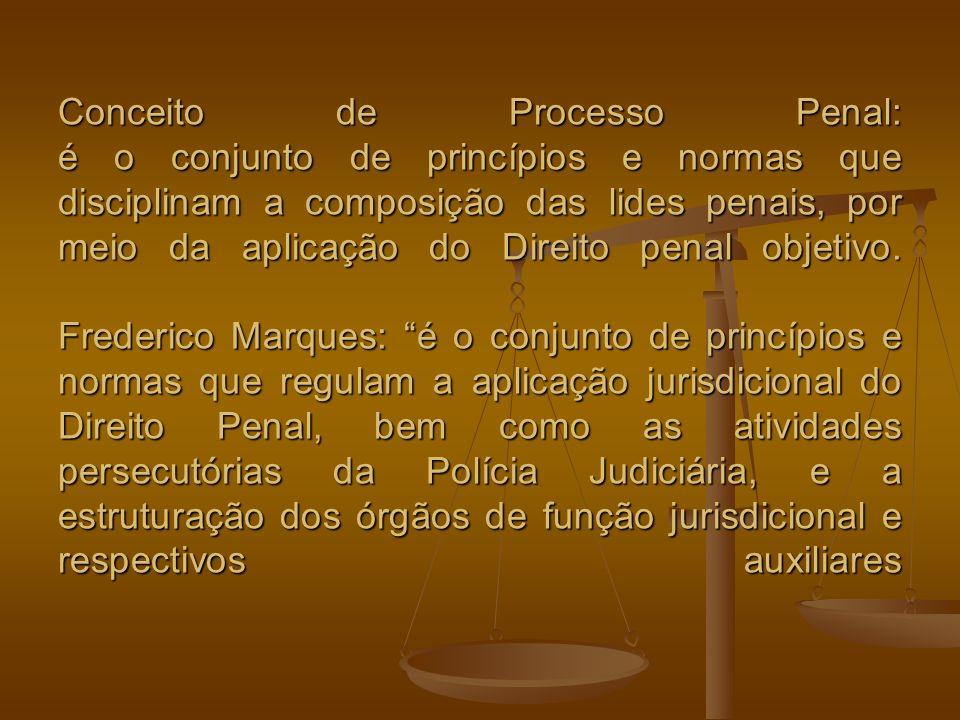 Conceito de Processo Penal: é o conjunto de princípios e normas que disciplinam a composição das lides penais, por meio da aplicação do Direito penal objetivo.