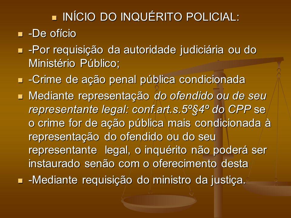 INÍCIO DO INQUÉRITO POLICIAL: