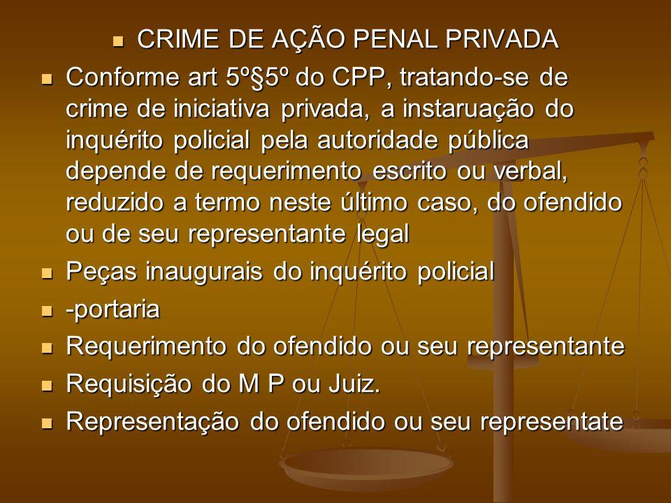 CRIME DE AÇÃO PENAL PRIVADA