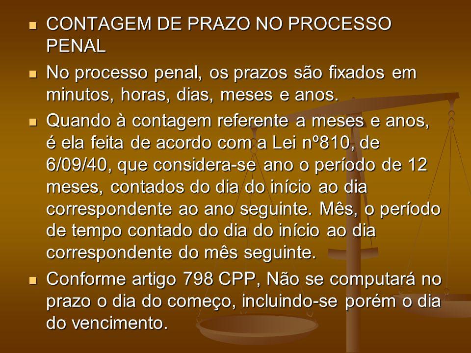 CONTAGEM DE PRAZO NO PROCESSO PENAL