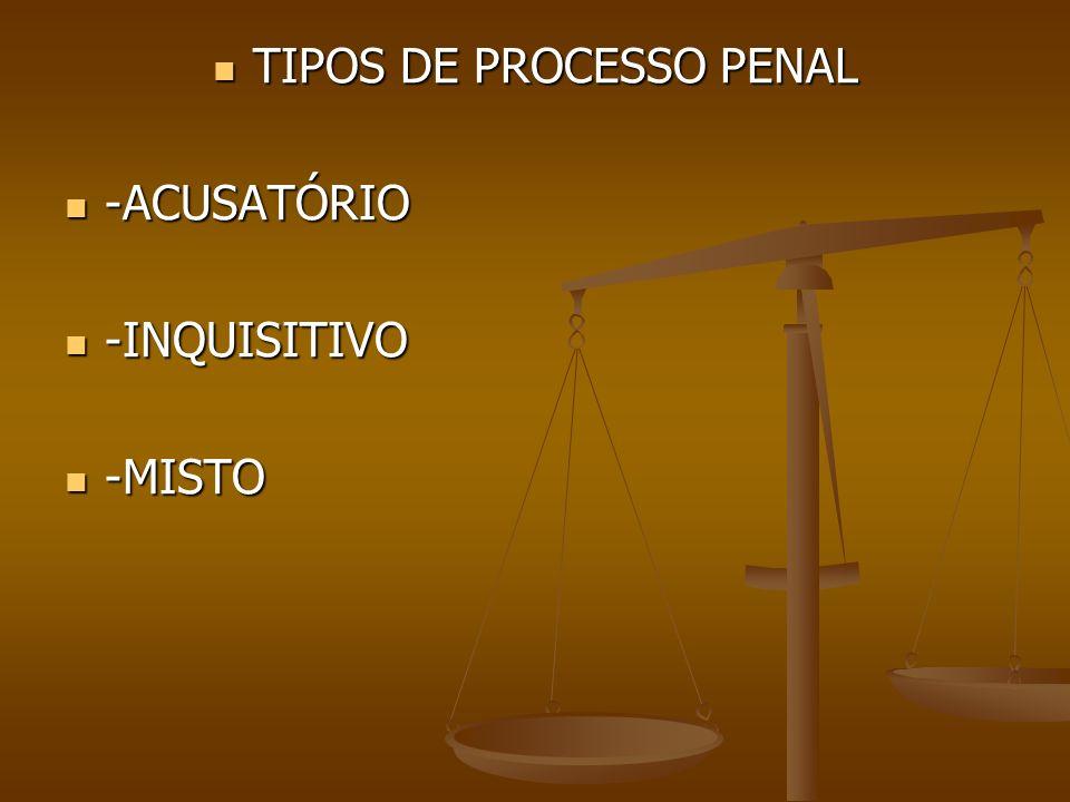 TIPOS DE PROCESSO PENAL